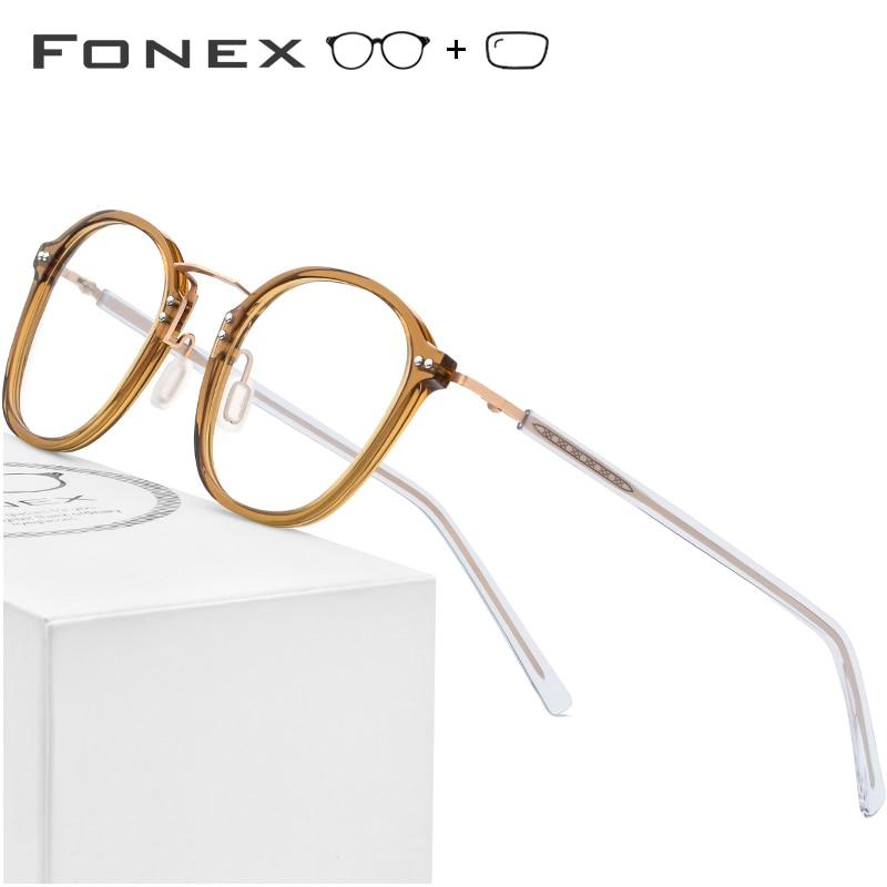 Acetate Optical Glasses Frame Women Square Memory Prescription Eyeglasses 2019 Men Clear Transparent Myopia Spectacles Eyewear(China)