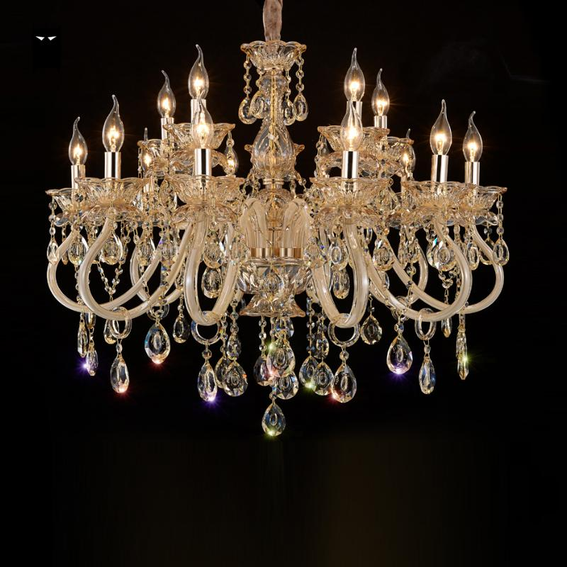 6/8/10/12/15/18 Arm Champagne Clear Handmade Glass Candle K9 Crystal Chandelier Light Fixture European Luxury Lustre Living Room