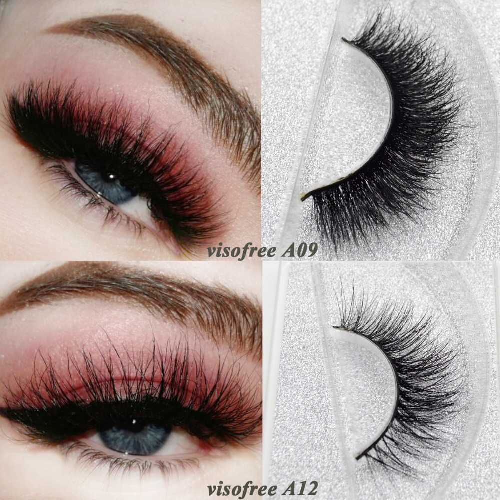 Visofree Mink Lashes 3D Mink False Eyelashes Long Lasting Lashes Natural & Lightweight Mink Eyelashes 1 Pair Glitter Packaging