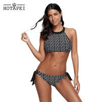 Hotapei Sexy High Neck Bikini Sets Monochrome Print Two Pieces Bathing Suits Swimwear LC410470 Women 2018