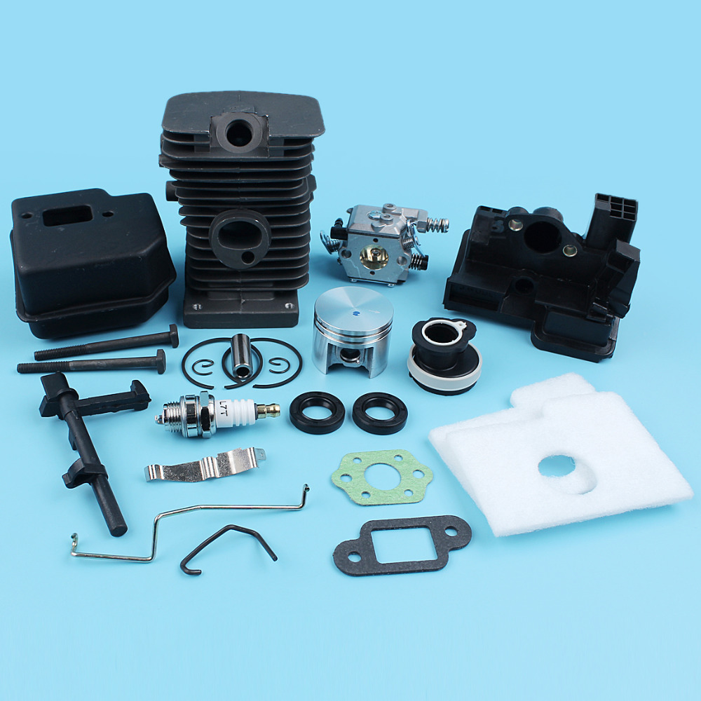 38mm NIKASIL PLATED Cylinder Piston Muffler Carb Kit For Stihl 018 MS180 017 MS170 Chainsaw Carburetor Intake Manifold Gasket