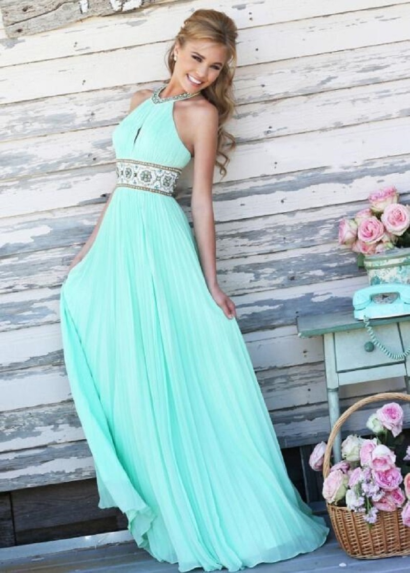 New  Cute Summer Women Maxi Dress Fit And Flare Solid Color Sleeveless Off The Shoulder O -Neck Chiffon Hollow Out