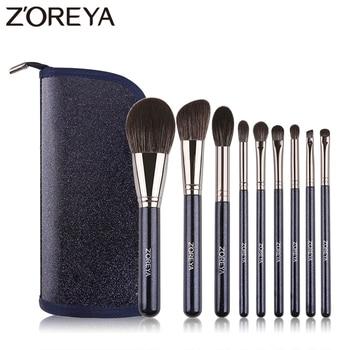 Zoreya Brand Super Soft Synthetic Hair Powder Sky Blue Makeup Brush Kit Highlighter Blush Blending Eye Shadow Brushes Set 9pcs