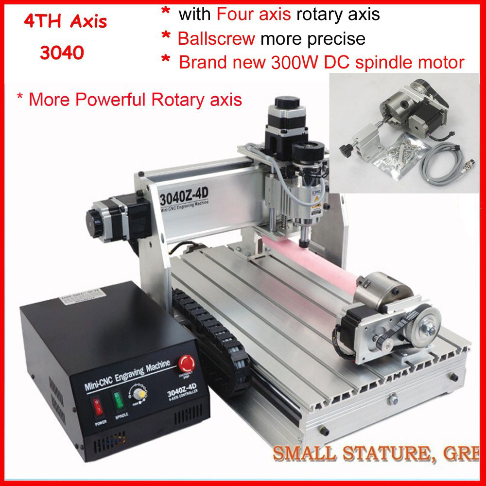 4th axis / 4 four axis 300W 3040 cnc router , wood carving router , mini cnc engraving machine , PCB milling machine , mach3 free tax desktop cnc wood router 3040 engraving drilling and milling machine