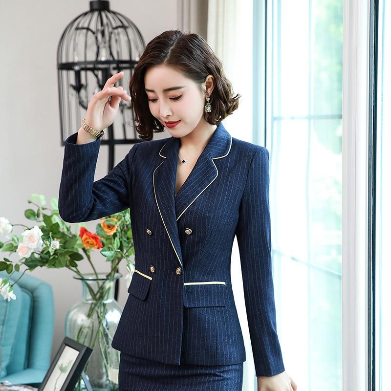 Flight Tracker Womens Work Jackets Fashion Ladies Formal Puff Long Sleeve Blazer Office Plus Size Blue Black White Suit Blaser Femme Blazers