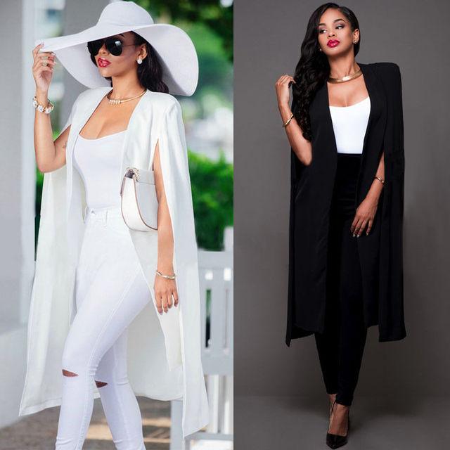 b30115b0ae71 2017 Automne Blanc Noir Blazer Femmes Mode Mince Longue Cape Manteau de  Blazer Femme À Double