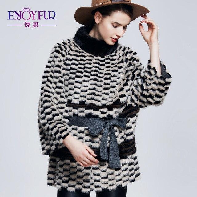 Enjoyfur Для женщин зима реального норки Мех с кроликом Мех Пальто и пуховики ремень модные тонкие Мех пальто Пояса из натуральной кожи пальто Мех