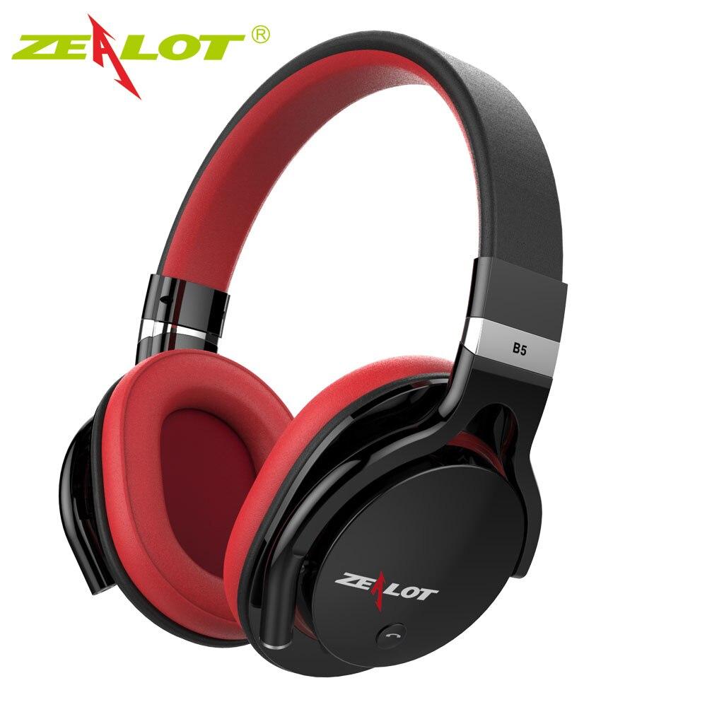 Zealot B5 Bluetooth Headphone Wireless Earphone Headphones Stereo Bass Bluetooth Headset with Mic with TF card Slot Black,Red