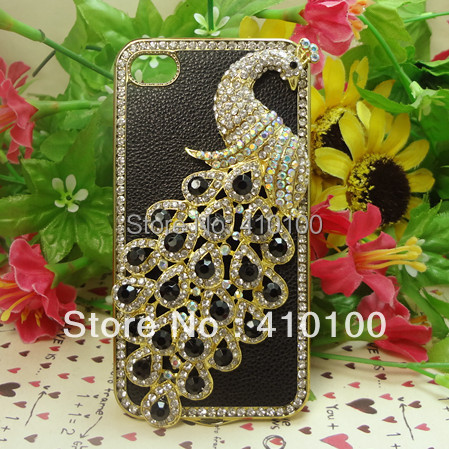 New Luxurious Rhinestone Diamond Phoenix case for iphone 4G 4S Crystal hot peacock Leather Cover For iphone 4 4G 4S