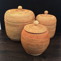 Vietnam Beautiful Autumn Rattan Weaving Cane Storage Organizers Puer Tea Tin Box Rattan Storage Boxes With