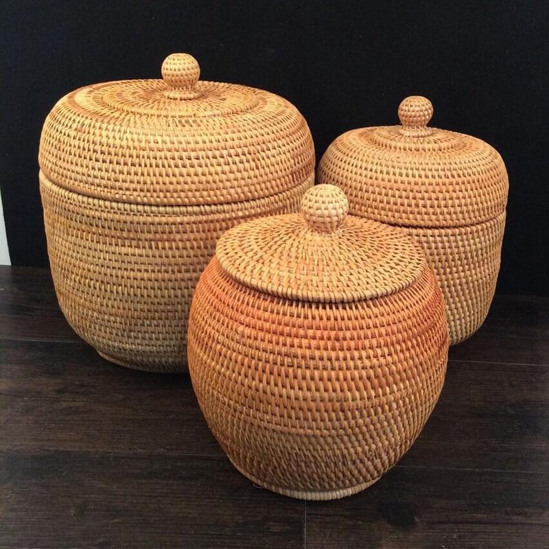 베트남 아름 다운가 등나무 직물 지팡이 스토리지 주최자 Puer 차 깡통 상자 등나무 저장 상자 뚜껑 키 조직자