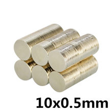 100pcs 10 * 0.5mm super strong neodymium magnet N35 disc permanent magnet rare earth art process neodymium iron boron magnet(China)