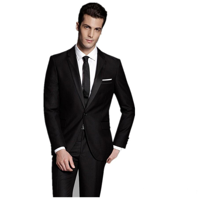 modern style black tuxedos for wedding grooms groomsmen best man men suits with back vent jacketpants tie
