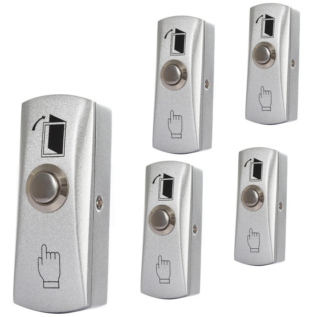 Stainless Steel Door Exit Release Push Button Home Switch Panel Part Of Access Control (pack Of 5)