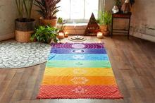 NEW Microfiber Fabric Material Bohemia India Mandala Blanket 7 Chakra Rainbow Stripes Tapestry Beach Towel Yoga Mat Bath