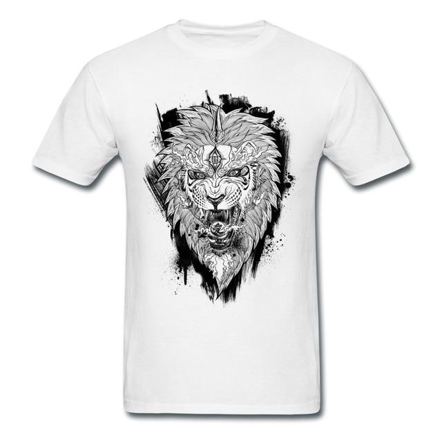 Casual Tee Shirt Mans Animal Chinese Style Lion Custom Swag Symbols
