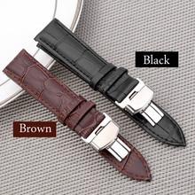 18-24mm Women Men Watch Band Strap Butterfly Pattern Deployant Clasp Buckle+Genuine Leather Watchband Correas de reloj цена и фото