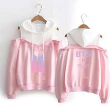BTS Long-sleeved Off-shoulder Hoodie