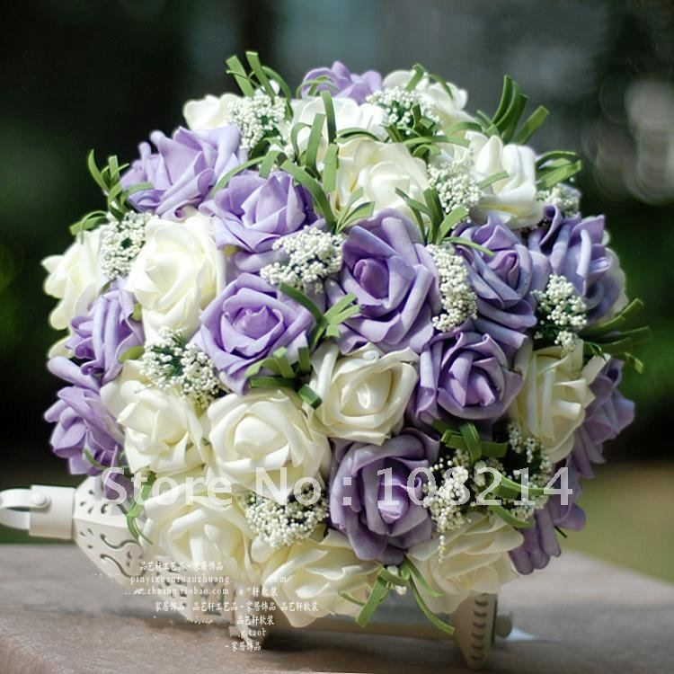 Purple And White Wedding Flower Bouquets