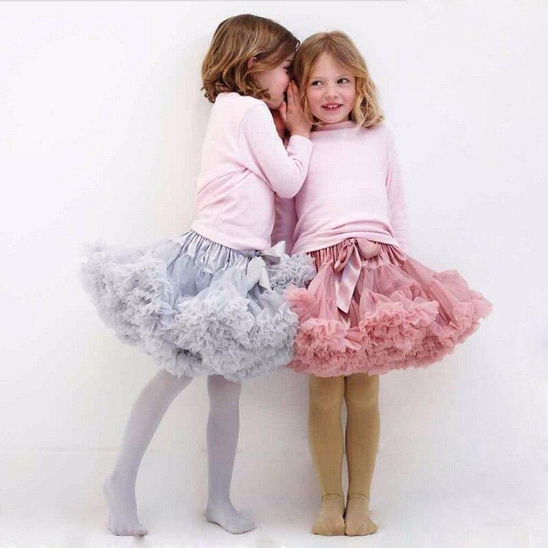 Buenos Ninos пушистые шифоновые юбки Pettiskirt для девочек 2-18 лет однотонные юбки-пачки для девочек танцевальная юбка новогодняя тюлевая юбка Petticoat