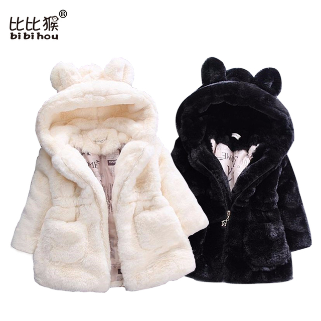 Bibihou Winter Baby toddlers Girls Faux Fur Fleece Coat Pageant Winter Warm Jacket Snowsuit Baby Outerwear Children Clothes