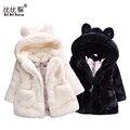 Bibihou invierno bebé niños niñas faux fur fleece abrigo de invierno caliente de la chaqueta traje para la nieve del bebé del desfile los niños ropa de abrigo ropa