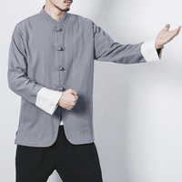 Chinese Traditional Men Linen Clothing Plus Size M 4XL 5XL Jackets Outwear Clothing Chinese KungFu Tai Chi Top For Men
