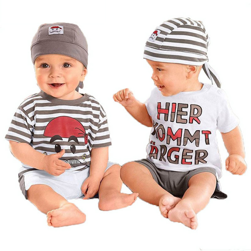 Children Babys Set 2018 New Short Sleeve Letter Hat T-Shirt Pants Summer Outfit For Toddler Vestidos 3Pieces Baby Boy Suit Set