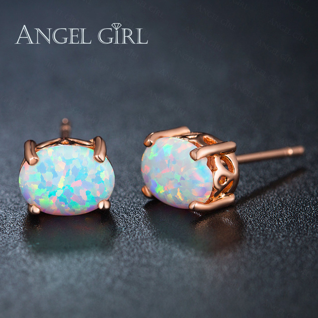 Angel Hot Por Earrings Jewelry Rose Gold Color Stud With White Oval Opal Earring