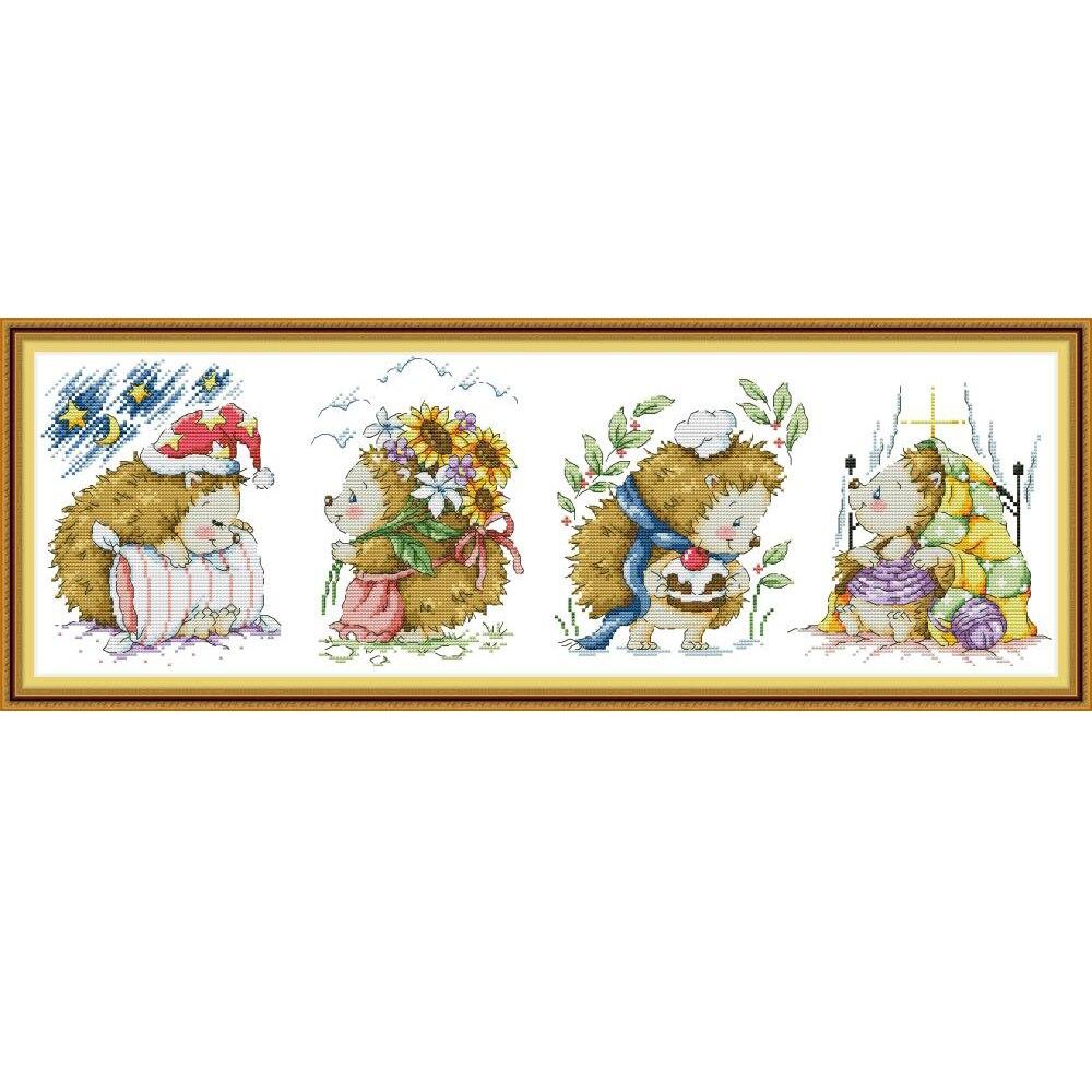 NKF Happy Baby Набор ежа для вышивки крестиком 11CT 14CT Китайский Набор для вышивки крестиком для домашнего декора|Упаковка|   | АлиЭкспресс