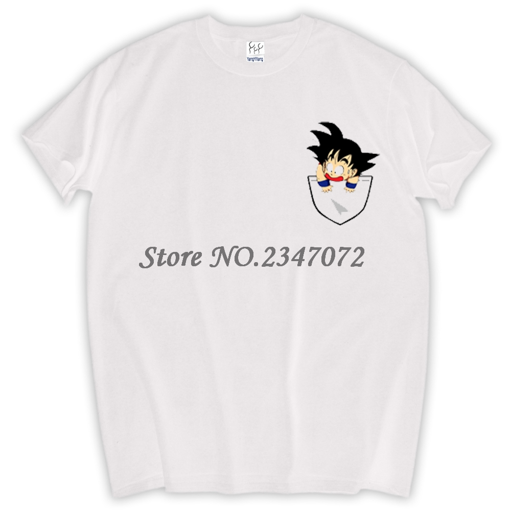 White t shirt for design - 2017 New Fashion Son Goku In My Pocket Design Men T Shirt Creative Simple Casual Male Basic Tops Short Sleeve Personality Tee