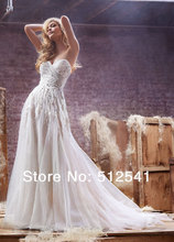 2014 Top Grade Sweetheart A Line Wedding Dresses Beads Pleats Sequin Floor Length Bridal Gown yk8R961