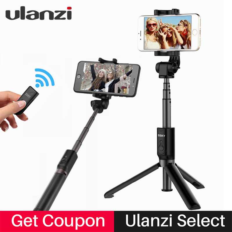Ulanzi 27in Smartphone Tripod Selfie Stick Bluetooth Remote Control Mini Tripod for iPhone X 8 Samsung Huawei Xiaomi Cellphone