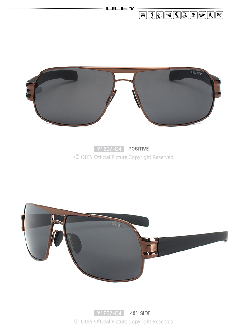 1c6a3887b8 OLEY Luxury Men Sunglasses HD Polarized UV400 Driving Lens ...