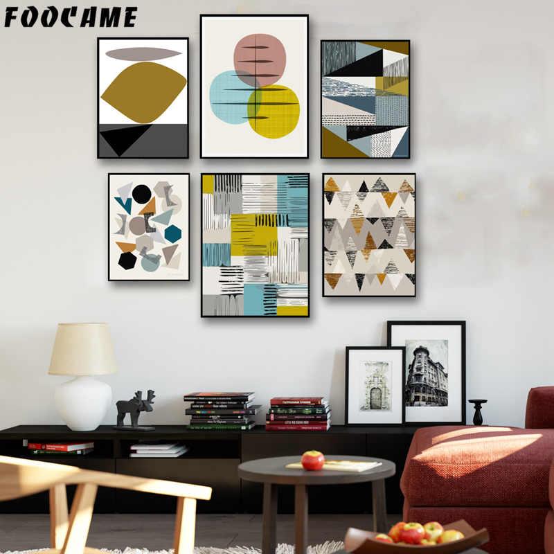 FOOCAME Геометрия круглая коробка Аннотация плакаты и принтов Art Холст Картины современных украшения дома настенные панно для гостиной