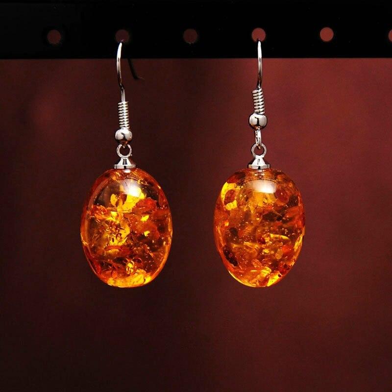 Ambers Dangle Earring Honey Imitate Ambers Teardrop Women Hook Earrings Vintage Silver Jewelry Gifts for Her