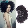 Перуанский Девственница Зажим Для Волос В Расширениях Человеческих Волос Afro Kinky вьющиеся Волосы Переплетения 7А Афро-Американской Странный Вьющиеся Клип Ins 7 Шт.