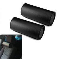 Car Styling Universal Car Auto PU Leather Round Black Car Neck Rest Seat Headrests Cushion Pillow