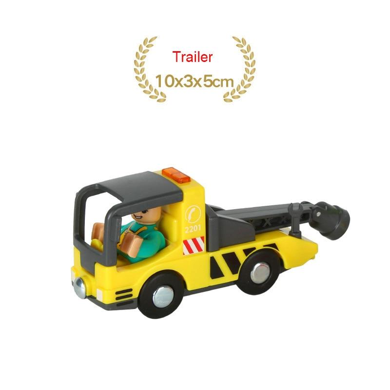 EDWONE деревянный магнитный Поезд Самолет деревянная железная дорога вертолет автомобиль грузовик аксессуары игрушка для детей подходит Дерево Biro треки подарки - Цвет: NO 22Trailer