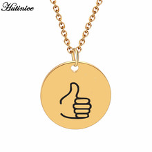 American Sign Language Thumbs UP Circle Pendants Necklace For Women Gold Chiker Chain Kettingen Voor Vrouwen Minimalist Jewelry(China)