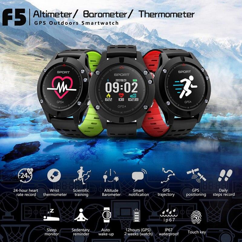 F5 Relógio Inteligente GPS Bluetooth 4.2 Liga da Frequência Cardíaca À Prova D' Água Toque OLED Pulseira Esporte Avançado Smartwatch para Android IOS