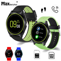 V9 Bluetooth Reloj Inteligente tarjeta Micro SIM 2G Con Cámara Podómetro Salud Sport MP3 music Reloj Smartwatch Para Android apoyo
