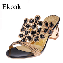 Ekoak Size 35-41 New 2016 Summer Fashion Women Big Rhinestone Cut-outs High Heel Sandals Ladies Party Shoes Woman Beach Slippers