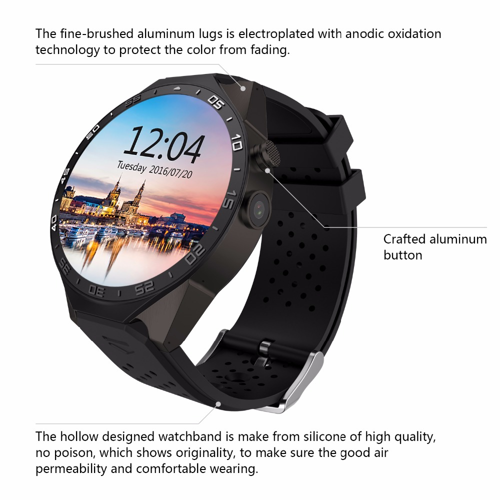 Original KW88 Smart Watch 1.39 Inch MTK6580 Quad Core 1.3GHZ Android 5.1 3G Smart Watch 400mAh 5.0 Mega Pixel Heart Rate Monitor 2016 update gv08 smart watch 15 inch 2mp