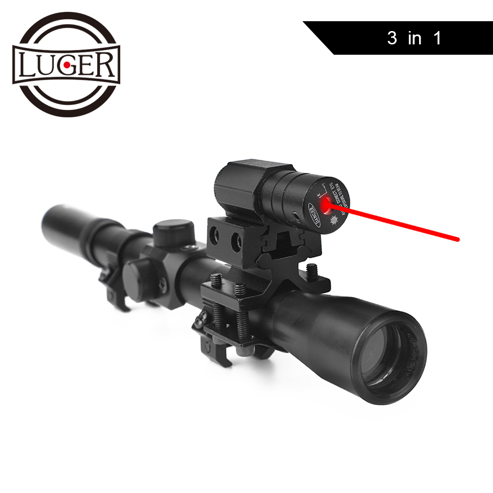LUGER 4x20 Rifle Optics Scope Tactical Crossbow Riflescope With Red Dot Laser Sight 11mm Rail Mounts for 22 Caliber Guns Hunting-in Riflescopes from Sports & Entertainment