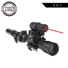 Оптический прицел для винтовки LUGER 4x20, тактический арбалетный прицел с красной точкой, Лазерный Прицел 11 мм, рельсовые крепления для 22 калибра, оружия, охоты