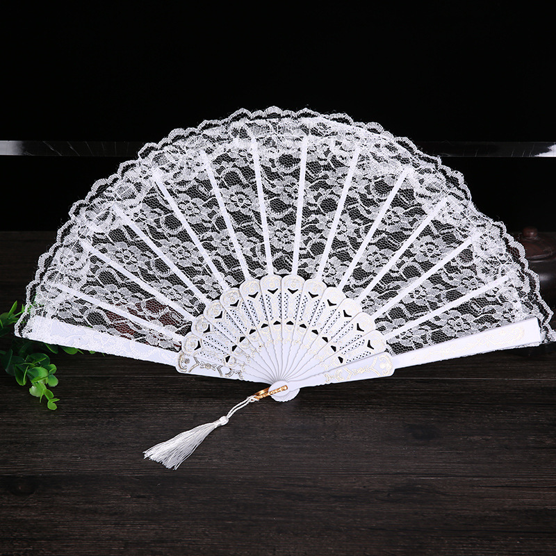 Ladies Folding Lace Hand Fan Engros Personlige Fans af Old Wedding Decor til Home Decoration Ornament Dance Tilbehør 11