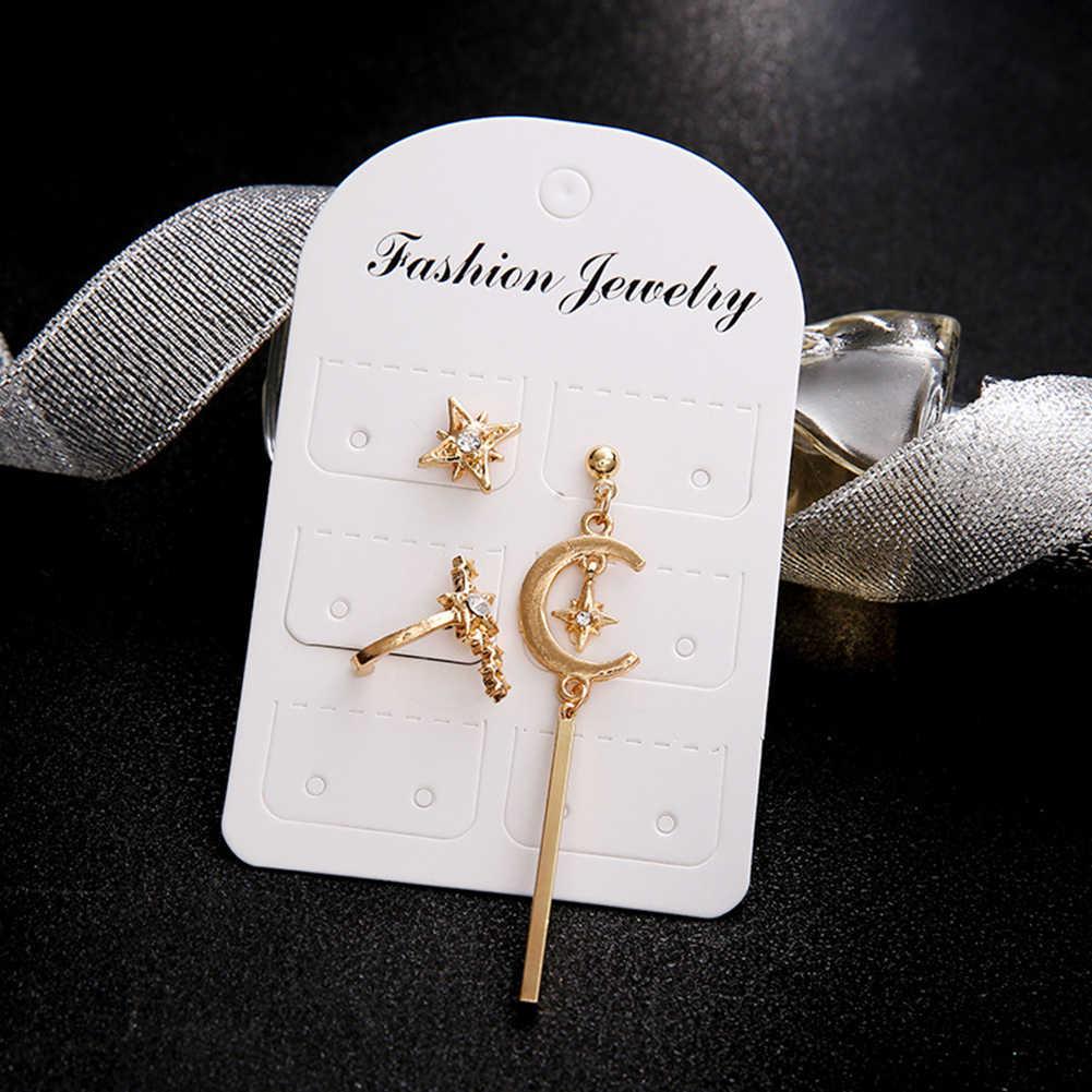 3Pcs/Sets Ear Stud Earring Chic Boho Lady Gold Star Moon Crystal Earring Drop Screw-Back 2018 New Lady Jewelry Ear Stud Earring
