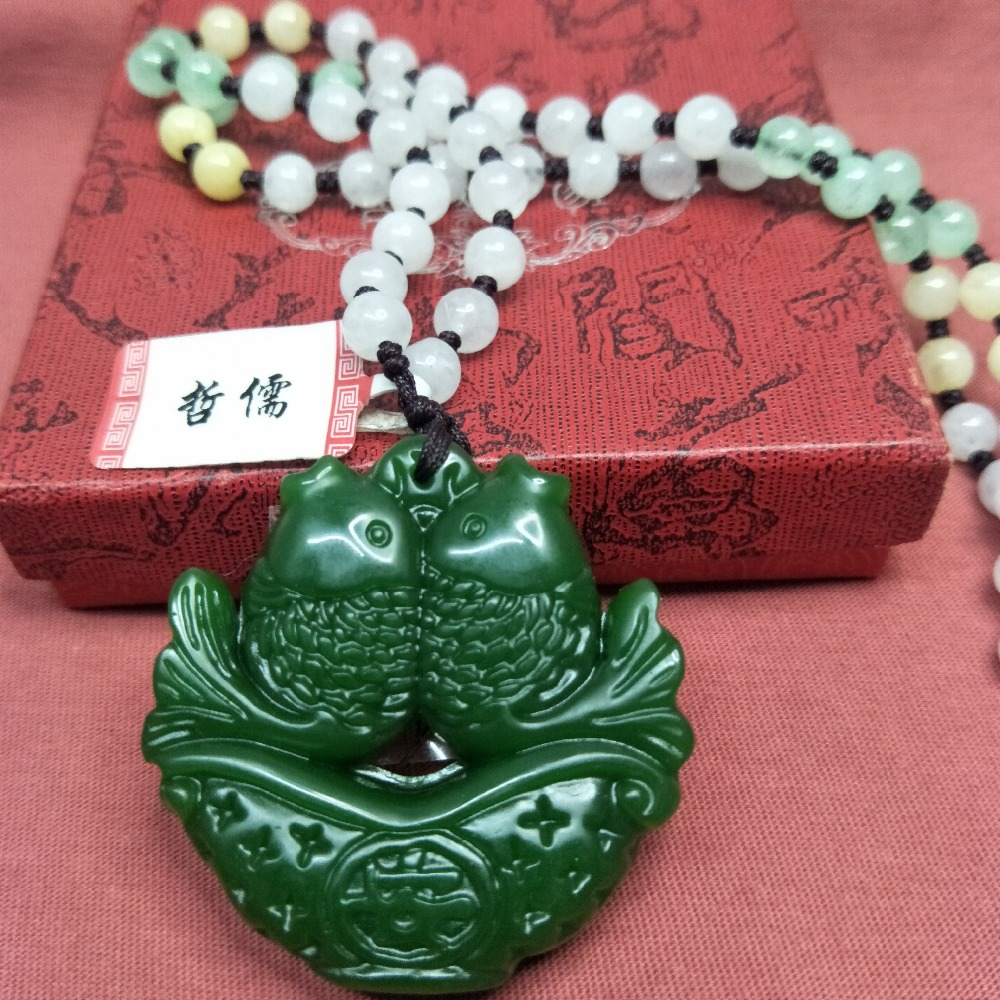 Wholesale price Natural Hetian original stone carving green Pisces pendant Matching three colored beads necklace Send certificatWholesale price Natural Hetian original stone carving green Pisces pendant Matching three colored beads necklace Send certificat