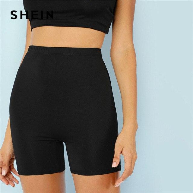 SHEIN Effen Fietsen Hoge Taille Leggings Vrouwen 2019 Athleisure Crop Fitness Leggings Zomer Dames Casual Workout Leggings